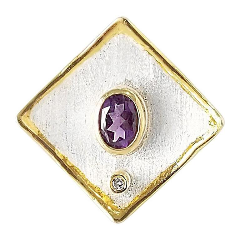 Yianni Creations Amethyst Diamond Fine Silver and 24 Karat Gold Wide Band Ring