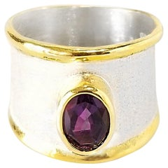 Yianni Creations Amethyst Fine Silver 24 Karat Gold Two-Tone Wide Band Ring