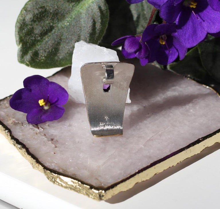 Yianni Creations Amethyst Fine Silver and 24 Karat Gold Two-Tone Pendant For Sale 4