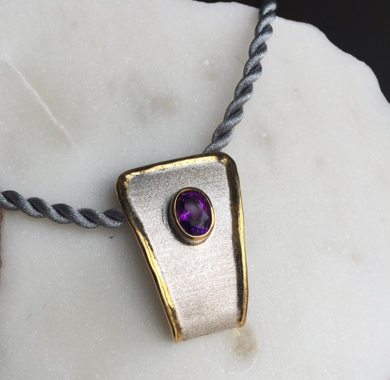 Yianni Creations Amethyst Fine Silver and 24 Karat Gold Two-Tone Pendant For Sale 5