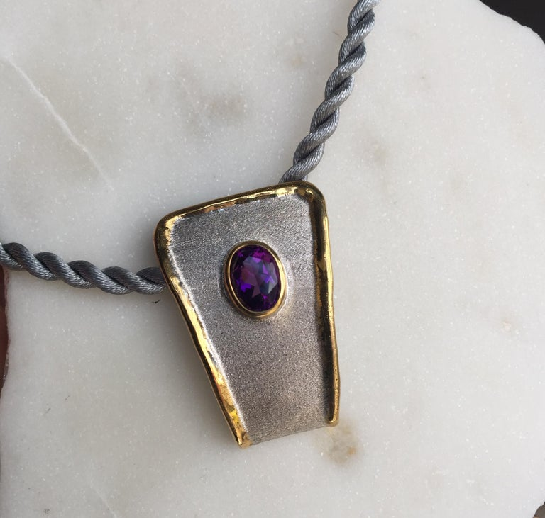 Yianni Creations Amethyst Fine Silver and 24 Karat Gold Two-Tone Pendant For Sale 6