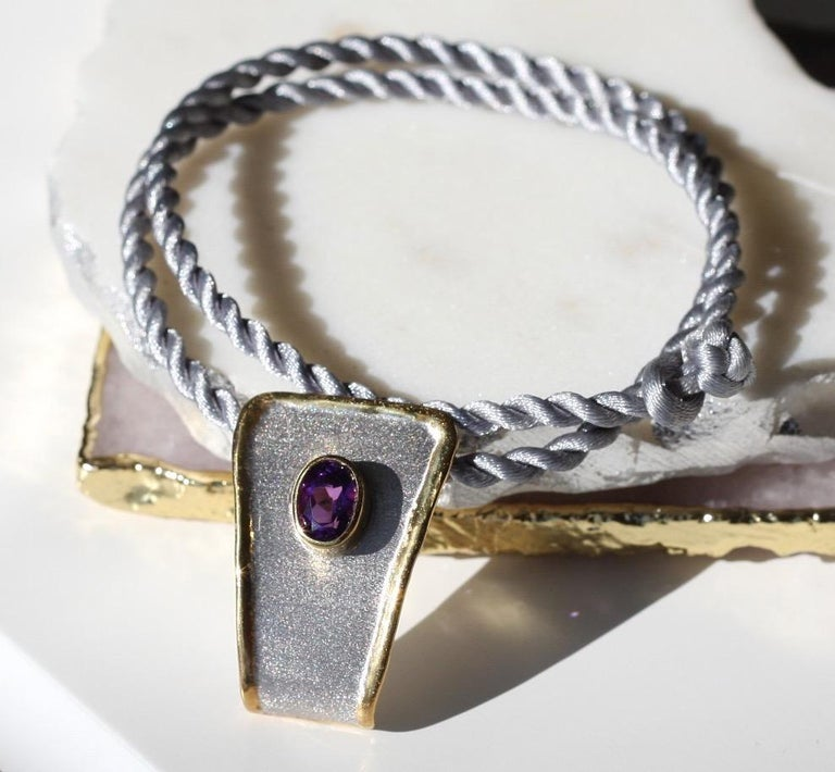Yianni Creations Amethyst Fine Silver and 24 Karat Gold Two-Tone Pendant For Sale 7