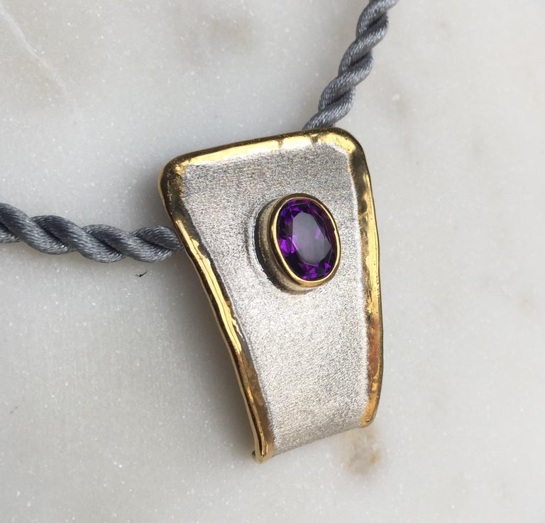 Yianni Creations Amethyst Fine Silver and 24 Karat Gold Two-Tone Pendant For Sale 9