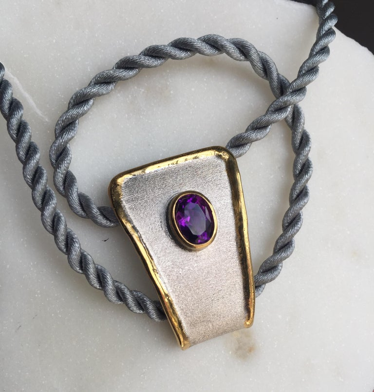 Contemporary Yianni Creations Amethyst Fine Silver and 24 Karat Gold Two-Tone Pendant For Sale