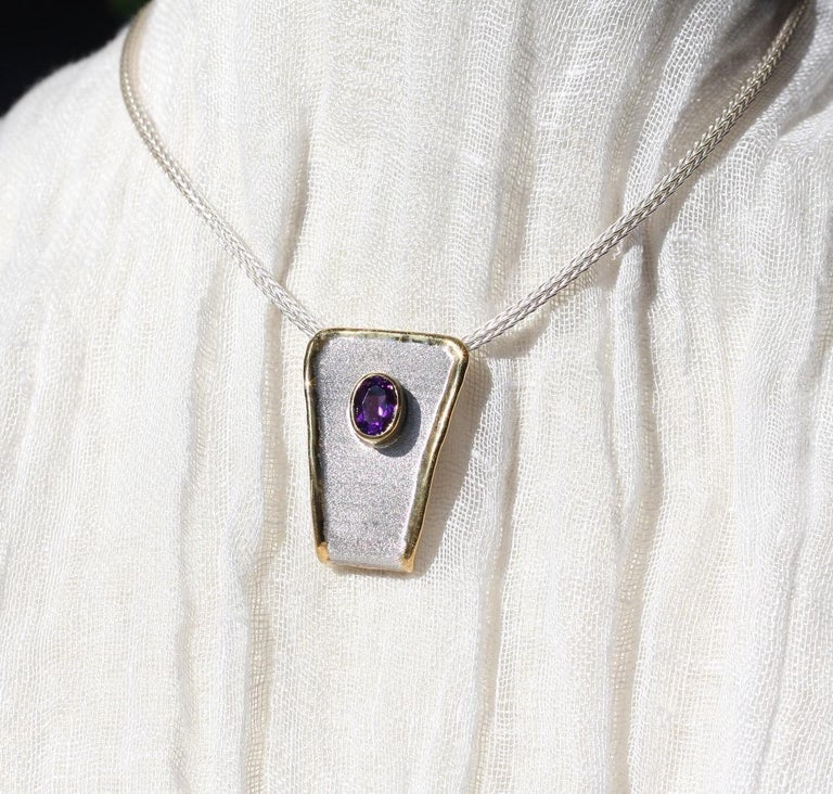 Men's Yianni Creations Amethyst Fine Silver and 24 Karat Gold Two-Tone Pendant For Sale