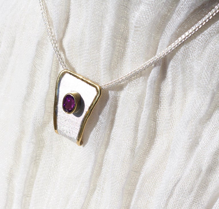Yianni Creations Amethyst Fine Silver and 24 Karat Gold Two-Tone Pendant For Sale 2