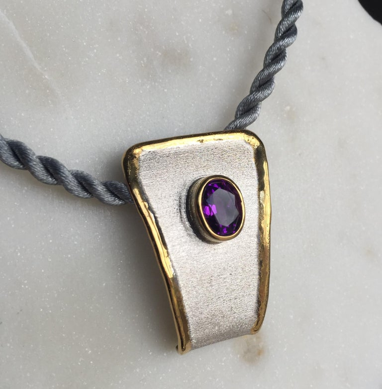 Yianni Creations Amethyst Fine Silver and 24 Karat Gold Two-Tone Pendant For Sale 3