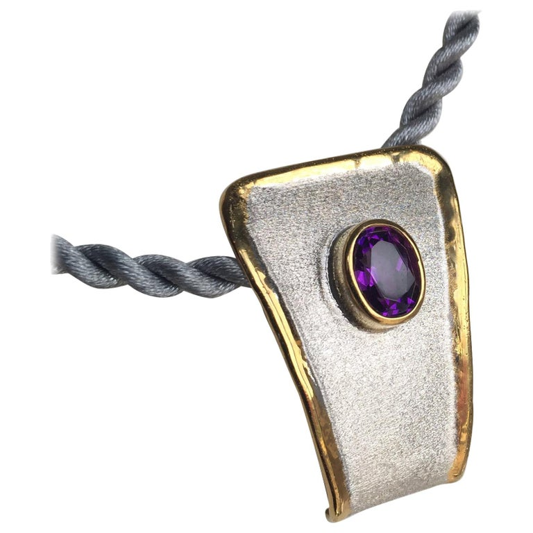 Yianni Creations Amethyst Fine Silver and 24 Karat Gold Two-Tone Pendant For Sale