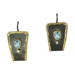 Yianni Creations Aquamarine and Diamond Fine Silver Gold Two-Tone Earrings