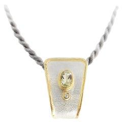 Yianni Creations Aquamarine and Diamond Fine Silver and 24 Karat Gold Pendant