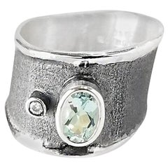 Yianni Creations Aquamarine and Diamond Fine Silver and Rhodium Band Ring