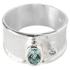 Yianni Creations Aquamarine and Diamond Fine Silver Palladium Band Ring