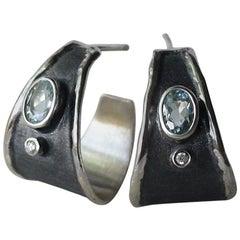 Yianni Creations Aquamarine and Diamond Fine Silver Two-Tone Wide Hoop Earrings