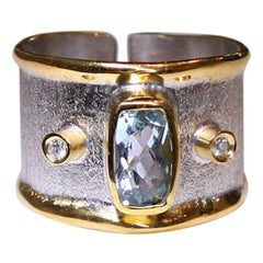 Yianni Creations Aquamarine Diamond Fine Silver 24 Karat Gold Two-Tone Band Ring