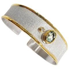 Yianni Creations Aquamarine Diamond Fine Silver 24 Karat Gold Two-Tone Bracelet