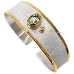 Yianni Creations Aquamarine Diamond Silver 24 Karat Gold Two-Tone Cuff Bracelet