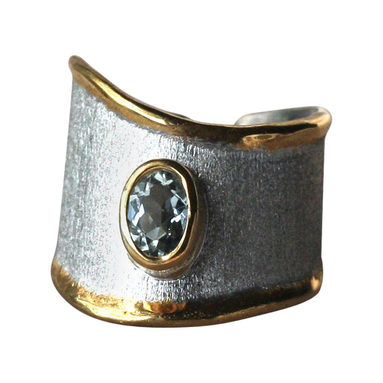 Yianni Creations Aquamarine Fine Silver 24 Karat Gold Two-Tone Opened Band Ring