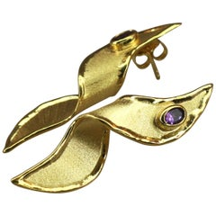 Yianni Creations Artisan Earrings with Amethyst in 18 Karat Gold