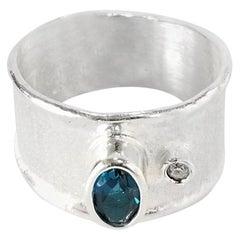 Yianni Creations Blue Topaz and Diamond Fine Silver Palladium Band Ring