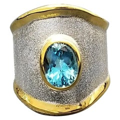 Yianni Creations Blue Topaz Band Ring in Fine Silver and 24 Karat Gold