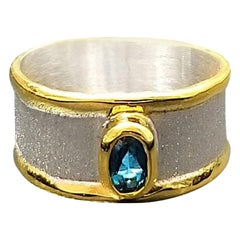 Yianni Creations Blue Topaz Band Ring in Fine Silver and 24 Karat Yellow Gold