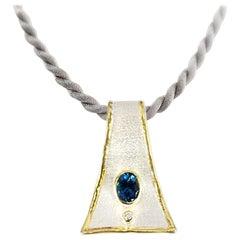 Yianni Creations Blue Topaz Diamond Fine Silver 24 Karat Gold Two-Tone Pendant