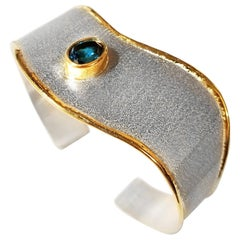 Yianni Creations Blue Topaz Fine Silver and 24 Karat Gold Two-Tone Cuff Bracelet
