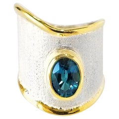 Yianni Creations BlueTopaz Fine Silver 24 Karat Gold Two-Tone Wide Band Ring