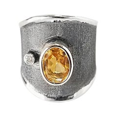 Yianni Creations Citrine and Diamond Fine Silver and Rhodium Wide Band Ring
