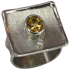 Yianni Creations Citrine Fine Silver Diamond and Oval Citrine Square Ring
