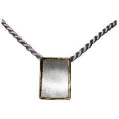 Yianni Creations Fine Silver 24 Karat Gold Two-Tone Rectangular Pendant Enhancer