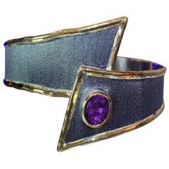 Yianni Creations Fine Silver 24 Karat Gold Two-Tone Wide Amethyst Cuff Bracelet