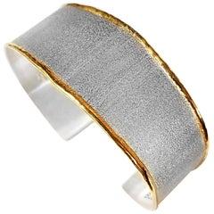 Yianni Creations Fine Silver 24 Karat Gold Two-Tone Wide Cuff Bangle Bracelet