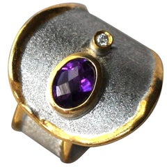 Yianni Creations Fine Silver and 24 Karat Gold Amethyst and Diamond Band Ring