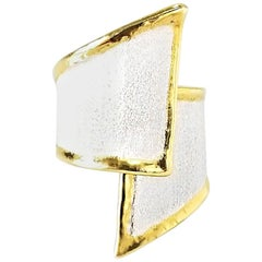 Yianni Creations Fine Silver and 24-Karat Gold Asymmetrical Artisan Ring