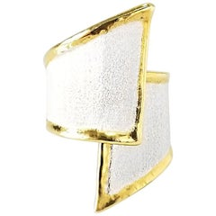 Yianni Creations Fine Silver and 24 Karat Gold Asymmetrical Artisan Ring