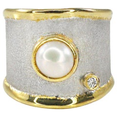 Yianni Creations Fine Silver and 24 Karat Gold Diamond Ring with a Pearl
