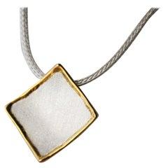 Yianni Creations Fine Silver and 24 Karat Gold Geometric Pendant Enhancer