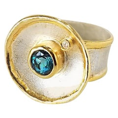 Yianni Creations Fine Silver and 24 Karat Gold London Blue Topaz Diamond Ring