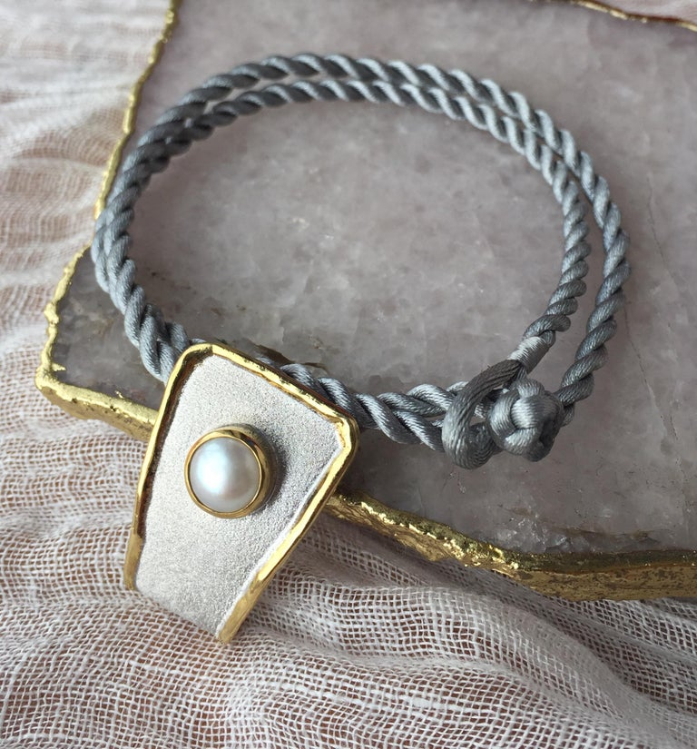 Yianni Creations Fine Silver and 24 Karat Gold Pearl Pendant For Sale 4
