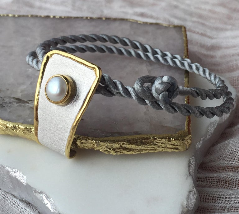Yianni Creations Fine Silver and 24 Karat Gold Pearl Pendant For Sale 5