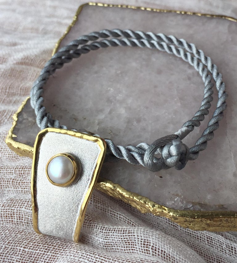 Yianni Creations Fine Silver and 24 Karat Gold Pearl Pendant For Sale 8