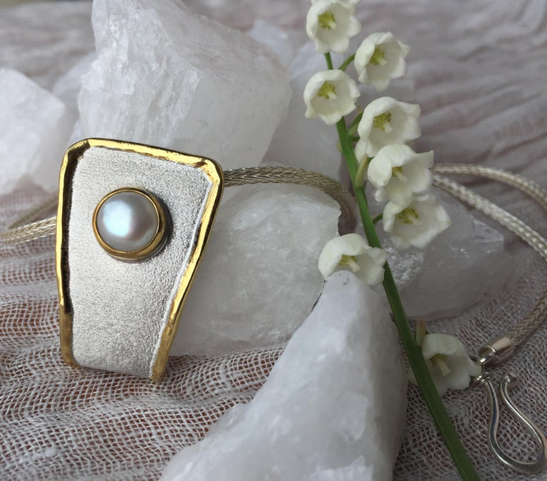 Yianni Creations Fine Silver and 24 Karat Gold Pearl Pendant For Sale 9