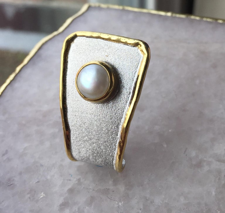 Contemporary Yianni Creations Fine Silver and 24 Karat Gold Pearl Pendant For Sale