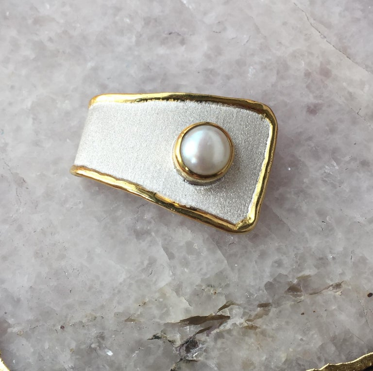 Women's Yianni Creations Fine Silver and 24 Karat Gold Pearl Pendant For Sale