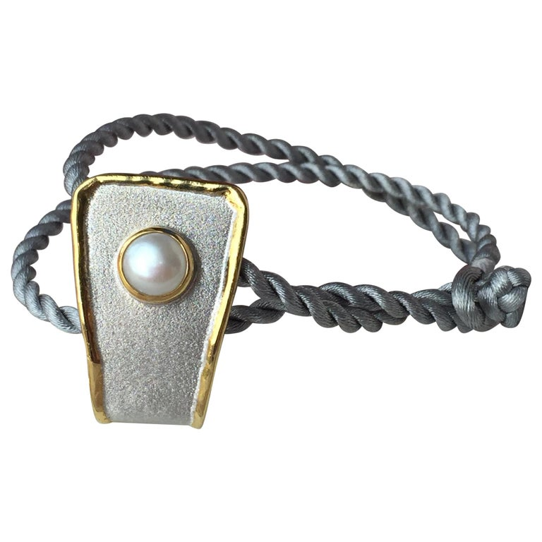 Yianni Creations Fine Silver and 24 Karat Gold Pearl Pendant For Sale