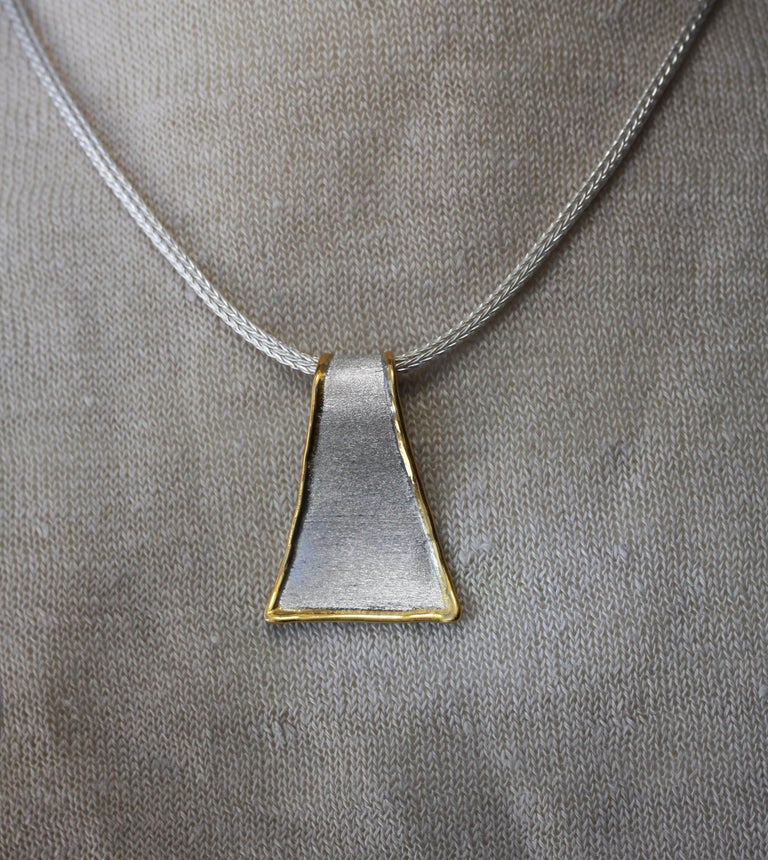 Yianni Creations Fine Silver and 24 Karat Gold Pendant Necklace For Sale 5