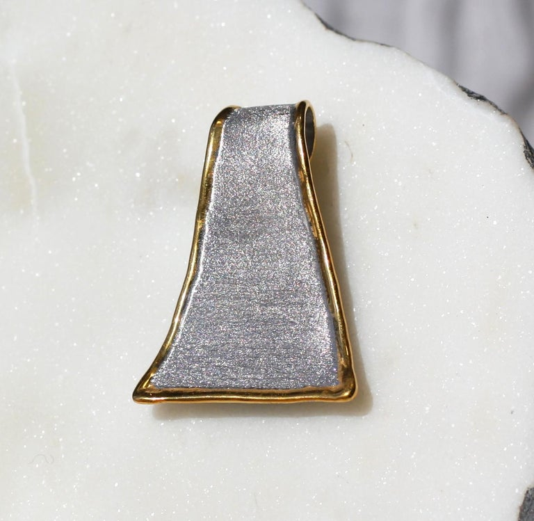Yianni Creations Fine Silver and 24 Karat Gold Pendant Necklace For Sale 1