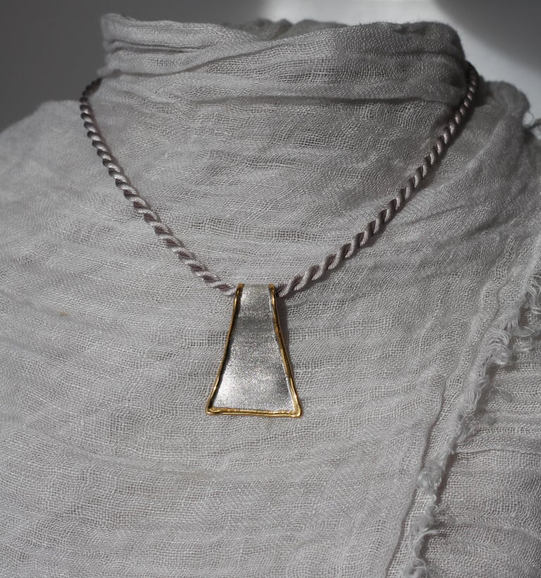 Yianni Creations Fine Silver and 24 Karat Gold Pendant Necklace For Sale 4
