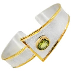 Yianni Creations Fine Silver and 24 Karat Gold Peridot Cuff Bangle Bracelet